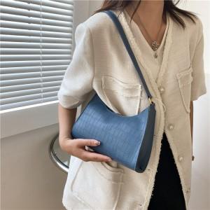 Women Fashion Solid Soft Small Shoulder Bag - Blue