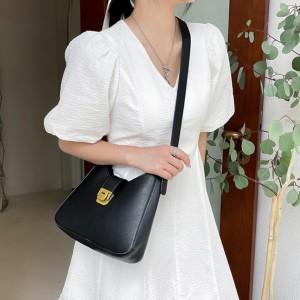 High Quality Half Moon Crossbody Women Shoulder Bag - Black
