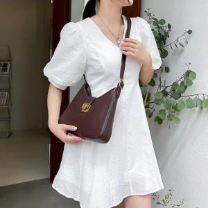 High Quality Half Moon Crossbody Women Shoulder Bag - Coffee