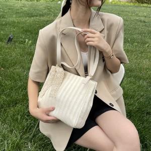 High Quality Design Straw Women Shoulder Bag - Beige
