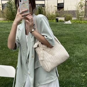 High Quality Design Straw Women Shoulder Bag - Khaki