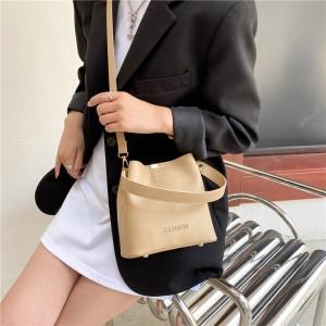 Simple Design Bucket Shape Shoulder Bag - Khaki