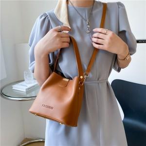 Simple Design Bucket Shape Shoulder Bag - Brown