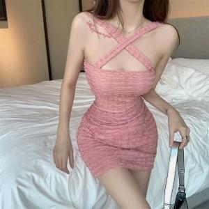 Cross Neck Sexy Wear Bodycon Fashion Dress - Pink