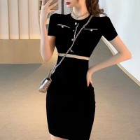 Round Neck Body Fitted Short Sleeved Mini Dress - Black