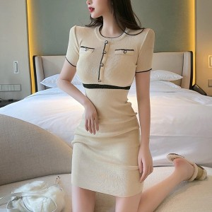 Round Neck Body Fitted Short Sleeved Mini Dress - Apricot