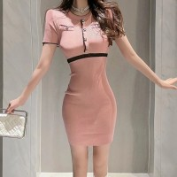 Round Neck Body Fitted Short Sleeve Mini Dress - Pink