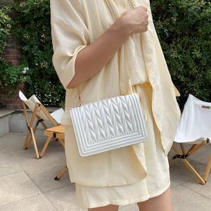 High Quality Rhombus Design Shoulder Bag - White