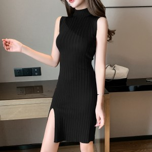 O Neck Ribbed Sleeveless Mini Dress - Black