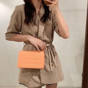 High Quality Rhombus Design Shoulder Bag - Orange
