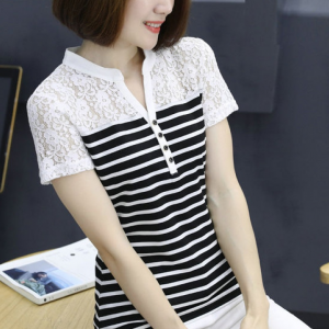 Stand Neck Floral Pattern Stripes Printed Summer T-Shirt - White