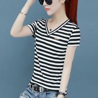 Stripes Printed V Neck Short Sleeves Summer T-Shirt - Black and White
