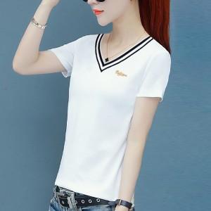 Solid Printed V Neck Short Sleeves Summer T-Shirt - White