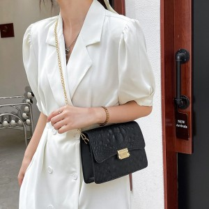 New Stone Design Women Fashion Shoulder Bag - Black