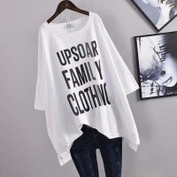 Boat Neck Alphabetic Loose Wear Summer Top - White