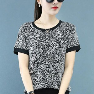Round Neck Printed Short Sleeves Summer Blouse Top - Black and White