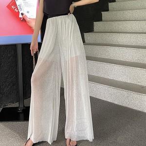 Thin Fabric See Through Elastic Waist Elegant Wear Palazzo Trousers - White
