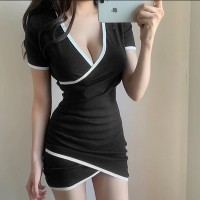 Wrapped Body Fitted V Neck Mini Dress - Black and White