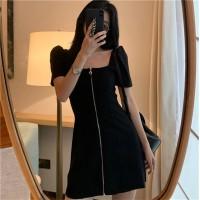 Zipper Closure Square Neck Mini Dress - Black