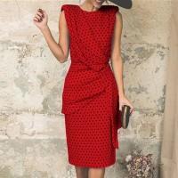 Round Neck Sleeveless Polka Dots Women Fashion Midi Dress - Red