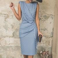 Round Neck Sleeveless Polka Dots Women Fashion Midi Dress - Blue