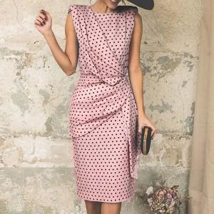 Round Neck Sleeveless Polka Dots Women Fashion Midi Dress - Pink