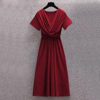 Ruffled Bust Short Sleeves Midi Dress - Red