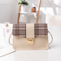 Synthetic Leather Magnetic Lock Luxury Women Shoulder Messenger Bag - Khaki