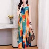 Sleeveless Digital Print Full Length Maxi Dress