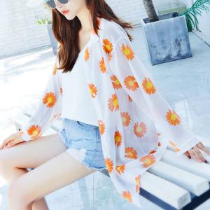 Flower Printed Outwear Summer Long Shirt - Orange