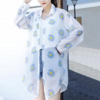 Flower Printed Outwear Summer Long Shirt - Blue