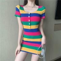 Button Closure Stripes Print Bodycon Mini Dress - Multicolor