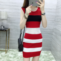 Mesh Round Neck Sleeveless Body Fitted Women Mini Dress - Red