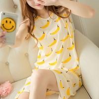 Banana Printed Sleeveless Nightwear Pajama Top - Yellow