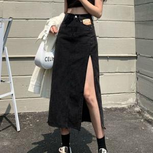 Button Closure Denim Split Style Casual Skirt - Black