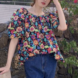 Off Shoulder Floral Printed Summer Wear Top - Floral