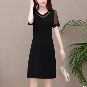 Mesh V Neck Solid Color Casual Wear Midi Dress - Black