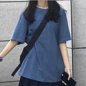 Solid Color Half Sleeves Round Neck T-Shirt - Dark Blue