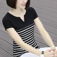 Notched Neck Stripes Printed Short Sleeves T-Shirt - Black