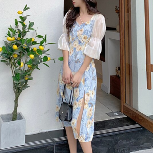 Ruffled Sleeves Sweet Heart Neck Floral Print Midi Dress