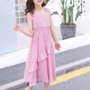 Sleeveless Square Neck Solid Color Flared Dress - Pink