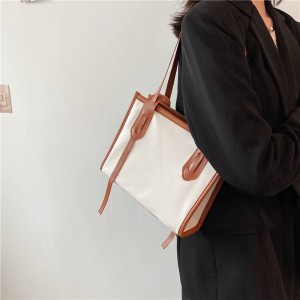 High Quality Vintage Business Casual Handbags - Brown White