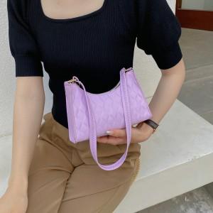 Small Lattice Pattern Women Fashion Handbag - Purple