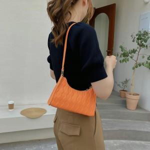 Small Lattice Pattern Women Fashion Handbag - Orange