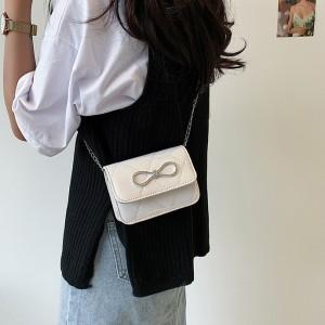 Girls New Fashion Chain Strip Single Shoulder Bag - White