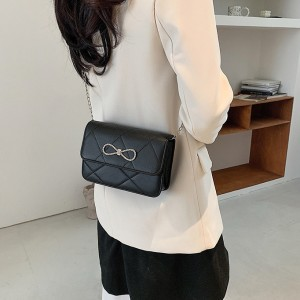 Girls New Fashion Chain Strip Single Shoulder Bag - Black