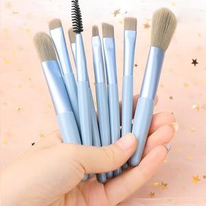 Set Of 8 Pcs Luxury Soft Makeup Brush - Sky Blue