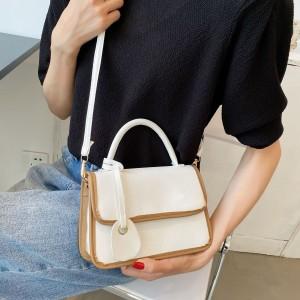 Tide Lock Buckle Elegance Women Shoulder Bag - White