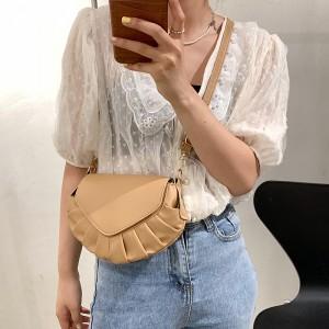 Fashionable Small Chain Dumpling Shoulder Bag - Kahki