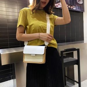 Chain Strip Fashion Contrast Colors Shoulder Bag - White Brown